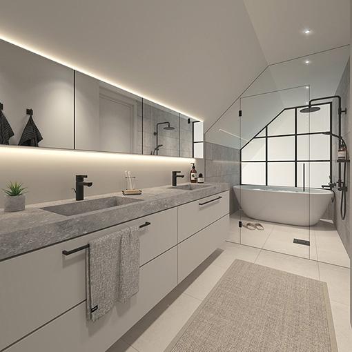 Iso Roobertinkatu ullakkorakentaminen - ullakkoasunnon kylpyhuone